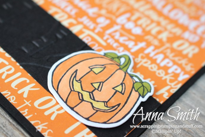 Jack-o-lantern Halloween card made with the Stampin' Up! Seasonal Chums stamp set and Spooky Night designer paper