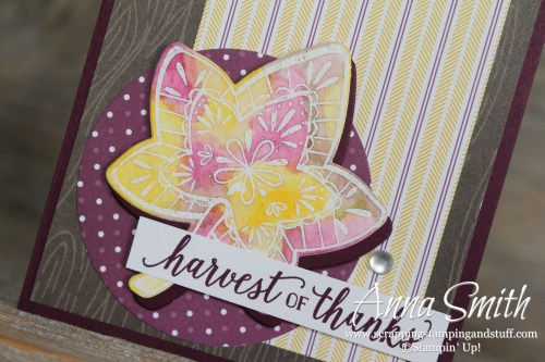 Rustic purple and woodgrain fall watercolor leaf card made with the Stampin' Up! Falling For Leaves stamp set and Country Lane designer series paper.