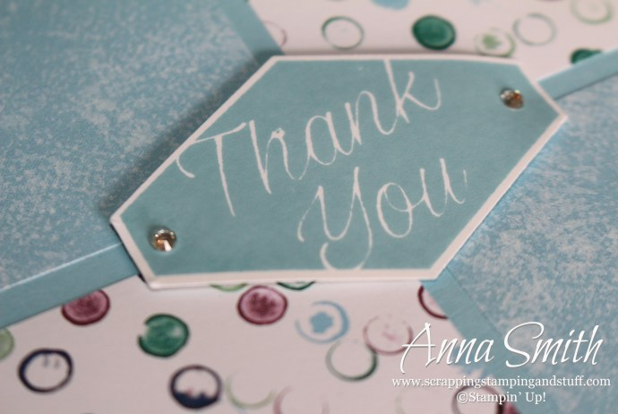 Stampin' Up! Tailored Tag thank you note made with the Accented Blooms stamp set and Tranquil Textures designer series paper.