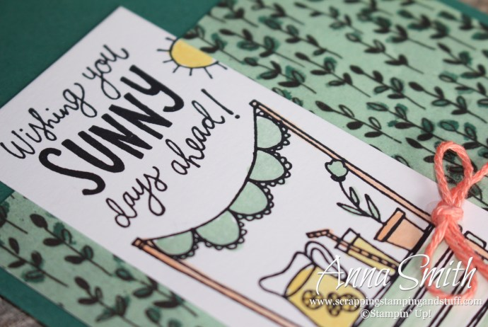 Lemonade stand!! Cheery thinking of you card made with the Stampin' Up! Sunny Days stamp set and Share What You Love designer paper