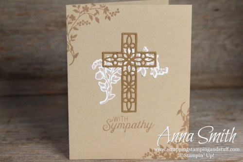 Neutral sympathy card made with the Stampin' Up! Cross of Hope thinlits, and the Hold On to Hope and Flourishing Phrases stamp sets