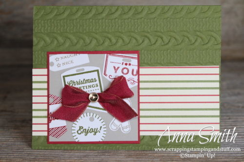 Cute Christmas card made with the Stampin' Up! Tags & Tidings stamp set, cable knit embossing folder and Festive Farmhouse designer series paper