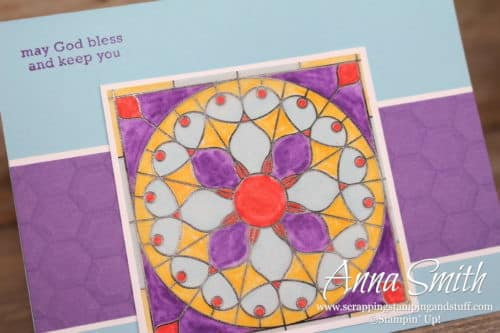 Stained glass thinking of you card made with Stampin' Up! Graceful Glass designer vellum and the Itty Bitty Greetings stamp set