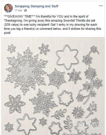 Stampin' Up! Facebook Snowfall Thinlits Dies Giveaway
