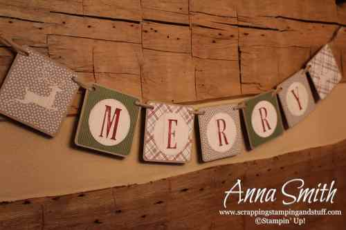12 Days of Handmade Gift Ideas - Day 6 DIY Christmas banner with Stampin' Up! Festive Farmhouse paper