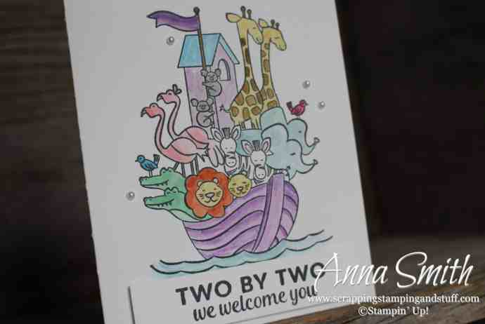 2019 Occasions Catalog Sneak Peek! Adorable Noah's ark card made with the Stampin' Up! Perfectly Paired stamp set. Would be perfect for baby or children's cards!