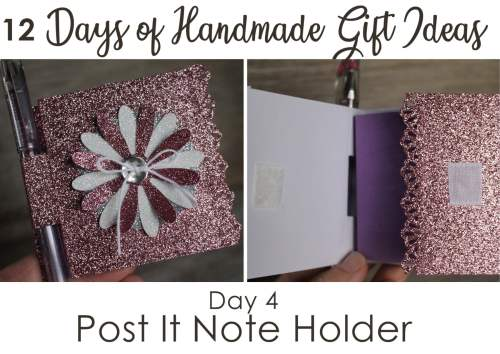 Pen and post-it holder decorated notebook - a quick, easy and inexpensive handmade gift idea - Stampin' Up!