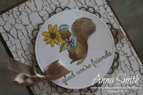 Cute squirrel card made with Stampin' Up! Fable Friends and Crackle Paint stamp sets and Doily Builder thinlits. Great idea for friends, baby or kids!