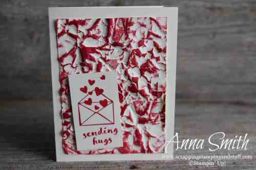 Stampin' Up! One For All sending hugs card idea with easy crumpled paper technique #simplestamping