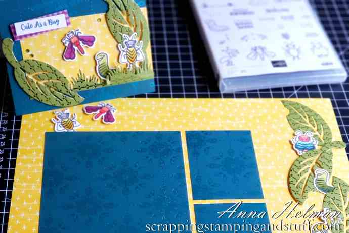Coordinating card and scrapbook page idea using the Stampin Up SU Wiggle Worm stamp set and Wiggly Bugs dies! Adorable kids or summer scrapbook page idea.