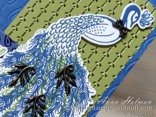 Pretty card idea made with Stampin Up Royal Peacock bundle and Noble Peacock designer paper, from the Stampin Up Annual Catalog 2019-2020