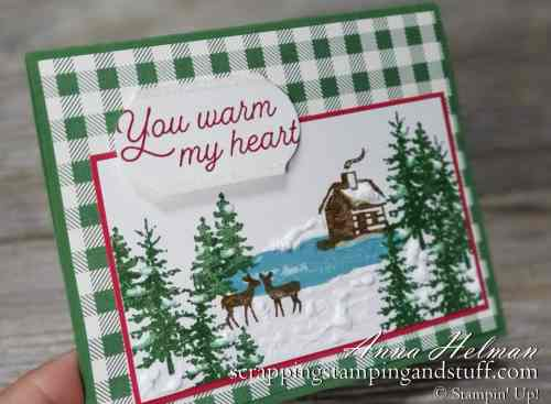 Pretty Christmas card idea with log cabin and deer, using Stampin Up Snow Front and Frosted Foliage stamp sets in the 2019 holiday catalog