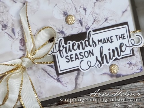 Nontraditional gold and brown holiday card idea using Stampin Up Making Christmas Bright stamp set and Feels Like Frost designer paper. Clean and simple, quick and easy, gorgeous! 2019 Holiday Catalog