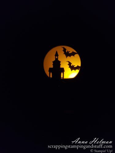 Spooky DIY Halloween paper lantern made using the Stampin Up Snow Globe Scenes dies and coordinating products! Perfect for Trick-or-Treat night!