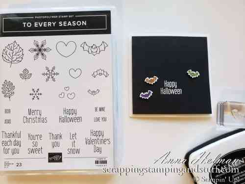 This is one of the best stamp sets for beginners! To Every Season by Stampin Up is great for several seasons and occasions AND has coordinating punches!