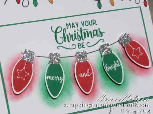 Clean and simple handmade Christmas card idea using the Stampin Up Making Chrismas Bright stamp set - adorable Christmas lights!