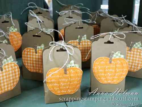 DIY Halloween or Thanksgiving Treats - simple pumpkin treat boxes, tag topper treats, made with the Stampin Up scalloped tag topper punch and apple builder punch