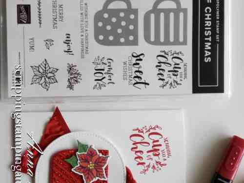 Adorable mug Christmas card using the Stampin Up Cup of Christmas stamp set - a mug stamp and die set!