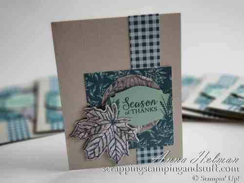 Neat card made with this leaves stamp and die set! Stampin Up Gather Together stamp set and Gathered Leaves Dies