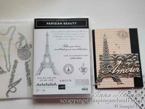 Stampin Up 2020 Mini Catalog Sneak Peeks! Stampin Up Parisian Beauty card idea with the Eiffel Tower, Paris, amour love.