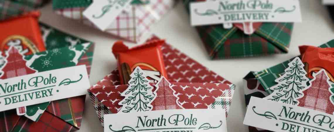 6x6 treat holder makes perfect Christmas table favors and is so fast and easy to make! Using Stampin Up Perfectly Plaid stamp set and Pine Tree punch