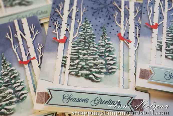 Stampin Up Paper Pumpkin October 2019 Winter Woods Card Subscription Kit