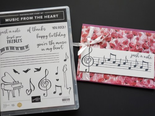 Music card idea made with the Stampin Up Music From the Heart music stamp set!
