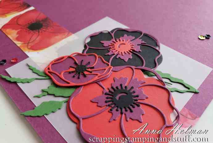 A beautiful Stampin Up Painted Poppies scrapbook page idea, made using the new Peaceful Poppies product suite in the 2020 Mini Catalog