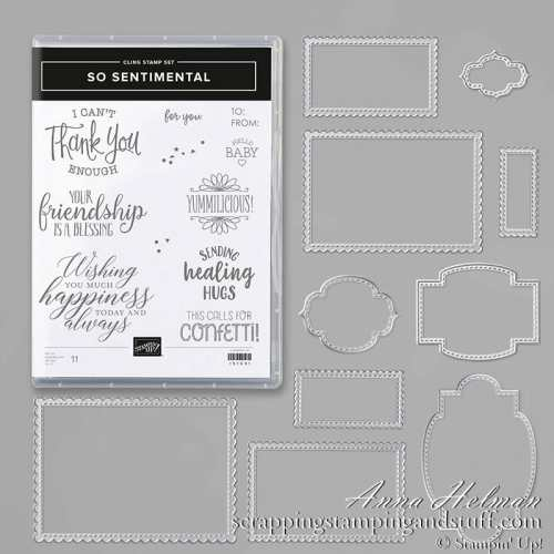 Stampin Up So Sentimental Greeting and Tag Stamp and Die Set