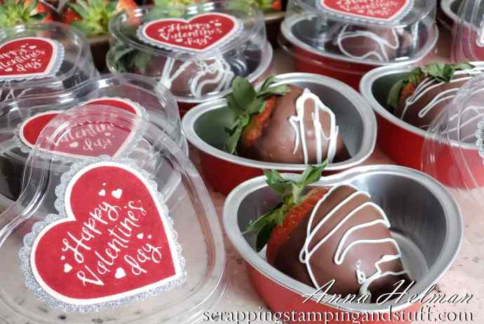 Stampin Up heart foil tins are the perfect heart treat cups for cupcakes, candy, or chocolate covered strawberries!
