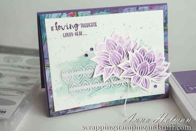 Watercolor get well card using the Stampin Up Lovely Lilypad stamp set and Dies - Sale-a-bration Rewards free with qualifying orders!