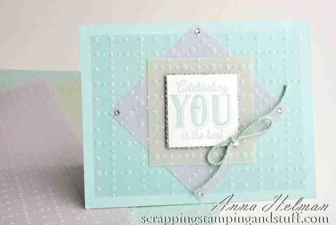 Sale-a-bration Second Release - Stampin' Up! So Very Vellum specialty paper pack celebrating you card idea for birthday or congrats. Get these items free with qualifying order!