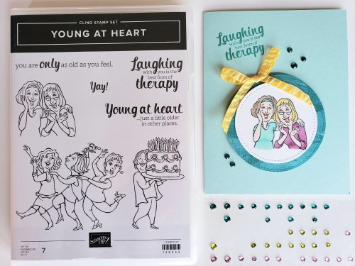 Laughing is the best form of therapy friendship card made using the Stampin Up Young At Heart stamp set