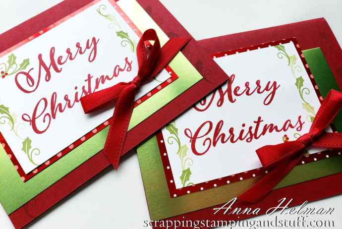 Simple Christmas Cards Using the Stampin' Up! Merry Christmas To All Stamp Set - A Christmas Set With Large Greetings!