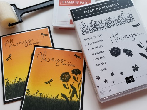 Beautiful Sunset Silhouette Technique Brayered Background Using Stampin' Up! Field of Flowers Stamp Set