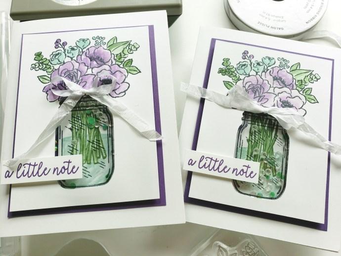 Floral Shaker Card Tutorial Using The Stampin Up Jar of Flowers Bundle