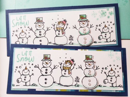 Learn How To Make a Slimline Card And Envelope, Including Dimensions and Instructions. Card Sample Features The Stampin Up Snowman Season Stamp Set.