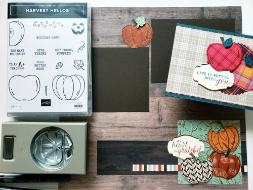 Take a look at this pumpkin scrapbook page and apple card design using the Stampin Up Harvest Hellos bundle.