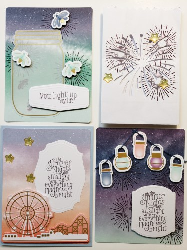July 2020 Paper Pumpkin craft kit in the mail. Includes summer themed projects and alternative ideas. Mason jars, fireworks, fireflies, ferris wheels, and more.