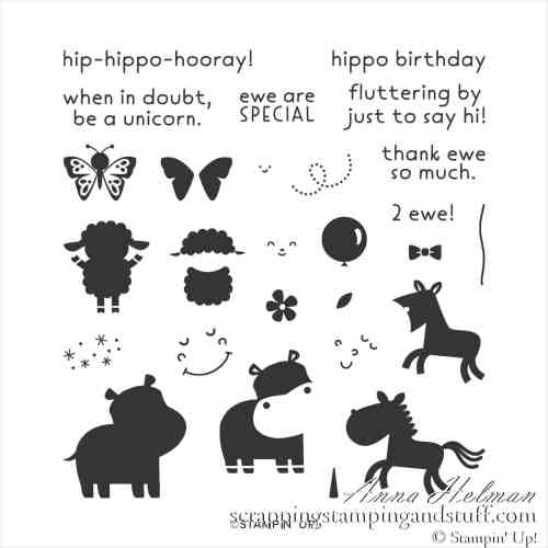 An adorable hippo baby card using the Stampin Up Hippo Happiness stamp set and Brick and Mortar embossing folder.