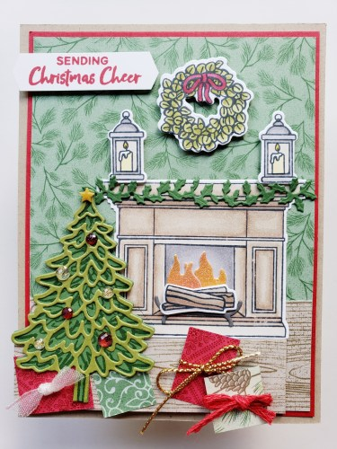 Take a look at this beautiful fun fold Christmas card idea using the Stampin Up Fireside Trimmings stamp set and Fireside dies.