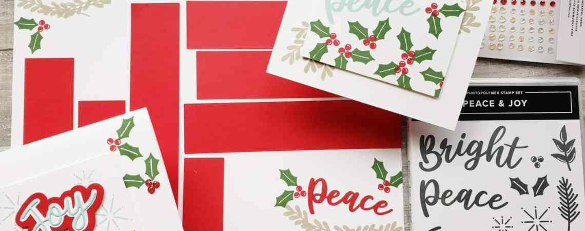 Take a look at these simple cards and scrapbook page using the Stampin Up Peace & Joy Bundle in the 2020 August-December Mini Catalog.