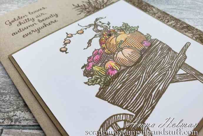 This adorable wheelbarrow card idea using the Stampin Up Autumn Goodness stamp set is simple and a perfect card idea for fall.