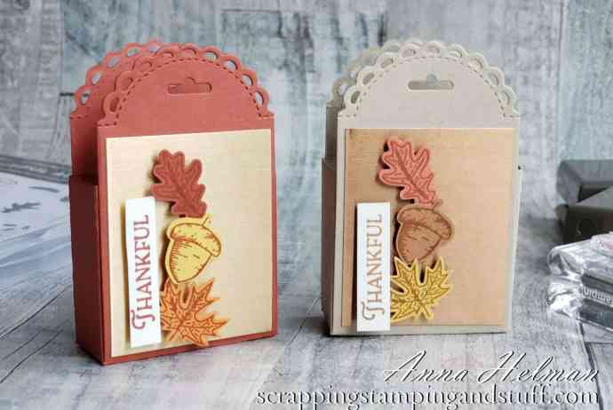 Create quick treat holders using the Stampin Up Little Treat Box Dies in the 2020 Holiday Catalog.