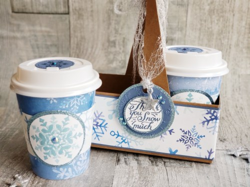 Decorated Stampin Up Coffee Cups are perfect to hold treats, gift cards, K-cups, or hot chocolate pouches. The perfect DIY gift!