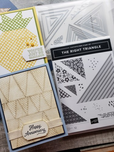 Make beautiful quilt cards and scrapbook pages using the Stampin Up The Right Triangle stamp set and Stitched Triangles Dies bundle