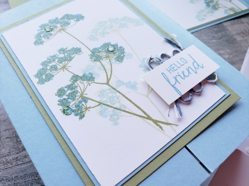 Make this delicate gate fold card using the Stampin Up Queen Anne's Lace stamp set.