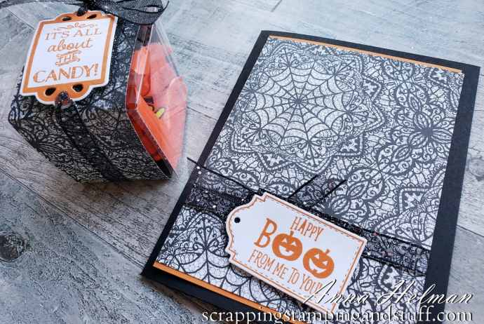 Make this quick Halloween card and treat box using the Stampin Up Tags Tags Tags stamps set and dies