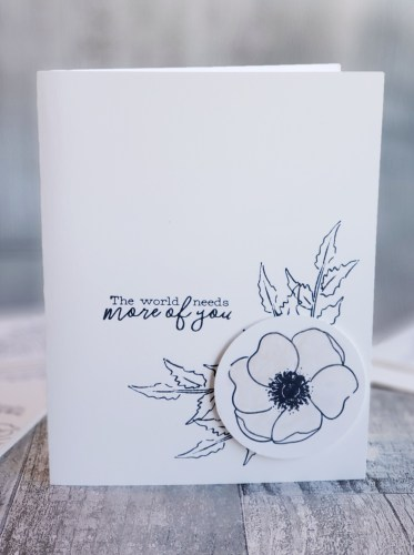Make these gorgeous black and white card designs using just white cardstock, black ink, and the Stampin Up Peaceful Poppies stamp set! #simplestamping