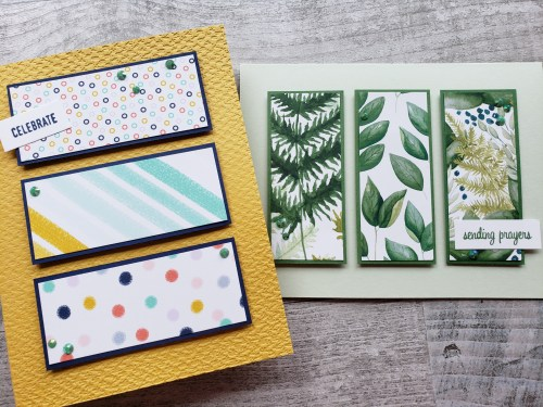 Use up some of the paper scraps in your collection with this paper scrap panel card! It is a perfect simple stamping project that comes together in minutes!